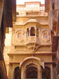 Oriental house with balcony. Jaisalmer - India Royalty Free Stock Photo