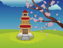 Oriental House and Blooming Sakura Stock Images