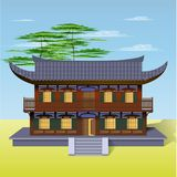 Oriental house with welcoming open door. Illustration of an Oriental house with welcoming open door inviting you in Stock Photo