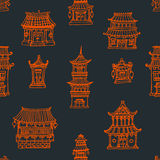 Oriental houses seamless pattern. Vector oriental seamless pattern with chinese and japanese buildings Royalty Free Stock Photo