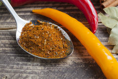 Oriental indian spices curry paprika nutmeg chili cinnamon cardamom curcuma on vintage wood Stock Image