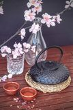 Oriental tea. Oriental inspired elements, like a typical iron teapot, tea cups, bamboo sheet, sakura or cherry blossom and a paper umbrella, combining elements Stock Images