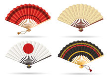Oriental japan fan set. Isolated on white background. Traditional paper chinese or japanese geisha vector folding fans Stock Photos