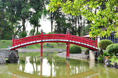 Oriental Japanese bridge. An oriental Japanese red bridge cross the small river in the park royalty free stock photo