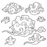 Oriental Japanese or Chinese cloud ornament doodle drawing collection set. With white isolated background stock illustration