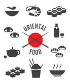 Oriental japanese food icons Stock Image