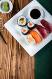 Oriental Japanese sushi set with seafood Stock Images