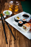 Oriental Japanese sushi set with seafood Stock Photo