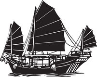 Oriental Junk. Line Art Illustration of an Oriental Junk stock illustration