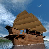 Oriental junk boat - 3D render Royalty Free Stock Photos