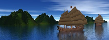 Oriental junk boats Stock Photography