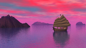 Oriental junk on the ocean by sunset - 3D render stock footage