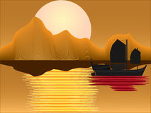 Oriental Junk at sunset Royalty Free Stock Photos