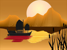 Oriental Junk with sunset background Stock Image