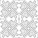 Oriental kaleidoscope fractal. Abstract black and white pattern. Vector. Stock Images