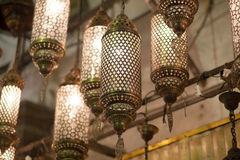 oriental lamps hanging at market Stock Photos
