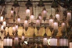 Oriental lamps hanging at market Royalty Free Stock Photos