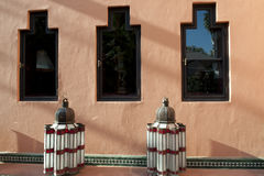Oriental lantern in front of a house in Marrakech royalty free stock photo