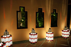 Oriental lantern in front of a house in Marrakech stock photo