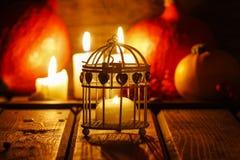 Oriental lantern on wooden table Royalty Free Stock Photo