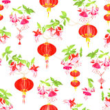 Oriental lanterns watercolor seamless vector pattern Stock Images
