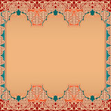 Oriental layout template design with vintage, ornamental, arabesques Royalty Free Stock Image