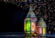 Oriental light lantern Islamic holidays decoration. Oriental light lantern. Islamic holidays decoration with bokeh stock images