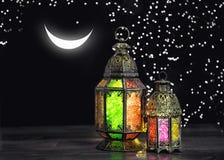Oriental light lantern moon stars Arabic decoration Ramadan. Oriental light lantern with moon and stars. Arabic decoration. Ramadan royalty free stock image