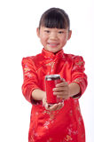 Oriental little girl holding a drink Stock Photos