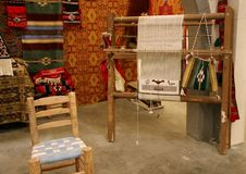 Oriental loom. The workplace of a Syrian weaver producing tapestries and handbags Royalty Free Stock Images