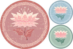 Oriental Lotus Decoration. Grunge is Removable in Vector Format stock illustration