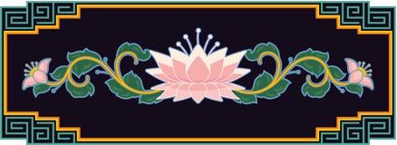 Oriental Lotus Design Element. Oriental Chinese Floral Design Element in the Frame stock illustration