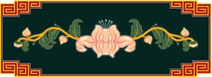 Oriental Lotus Design Element. Oriental Chinese Floral Design Element in the Frame vector illustration