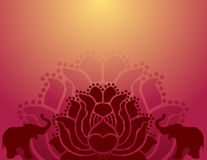Oriental lotus and elephant background Royalty Free Stock Images