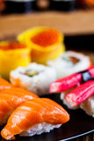 Oriental magic theme with Japanese seafood, sushi set Royalty Free Stock Photography