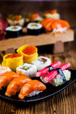 Oriental magic theme with Japanese seafood, sushi set Stock Images