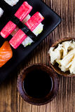 Oriental magic theme with Japanese seafood, sushi set Royalty Free Stock Photos