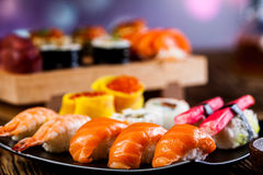 Oriental magic theme with Japanese seafood, sushi set Stock Photography