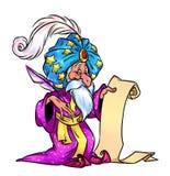 Oriental magician magic business listing. Cartoon illustration Stock Photo