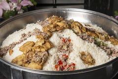 Oriental maklouba rice at a hotel restaurant buffet Stock Photo