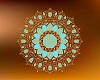 Oriental mandala motif round lace pattern on the gradient a background Stock Photography