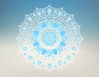 Oriental mandala motif round lace pattern on the gradient a background. Royalty Free Stock Photography