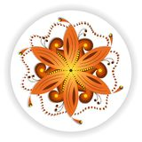 Oriental mandala motif of round swirling shape, illustration of colorful floral pattern for decoration in Oriental style. Oriental mandala motif of round royalty free illustration