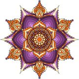 Oriental mandala, purple, orange and beige colors. vector illustration