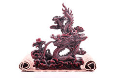 Oriental Marble Dragon Sculpture. Over White Stock Images