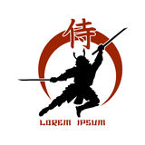 Oriental martial arts. Samurai fight club logo. Hieroglyph ancient, asian fighter with katana. Vector illustration Stock Photo