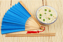 Oriental meal on bamboo Stock Images
