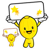 The Oriental melon Mascot holding a big board with both hands. F Stock Images