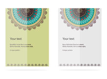 Oriental motif lace design cards. Mandala. Oriental motif lace design for invitations, brochures, business cards and Internet. Vector illustration. Two color Stock Image