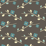 Oriental nature seamless pattern background illustration with flowers Royalty Free Stock Images